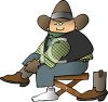 Cartoon of a Cowboy Putting on His Boots clipart