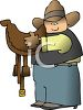 Cartoon of a Cowboy Holding a Saddle clipart