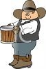 Cartoon of a Cowboy Carrying a Bucket clipart
