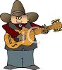 Cartoon of a Cowboy Playing the Guitar clipart
