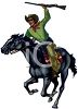 Cowboy on a Running Horse clipart