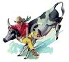 Cowboy with a Bull By the Horns clipart
