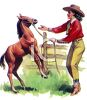 Cowgirl Playing with a Colt clipart