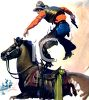 Cowboy Leaping From His Horse clipart