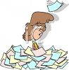 Cartoon of a Secretary Buried Under Paperwork clipart
