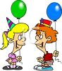 Cartoon of a Boy and Girl at a Birthday Party clipart