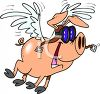 Cartoon of a Flying Pig Wearing Goggles clipart