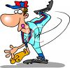 Cartoon of a Baseball Pitcher Throwing the Ball clipart