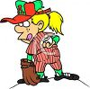 Cartoon of a Tomboy Playing Baseball clipart