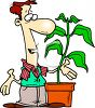Cartoon of a Florist Talking to One Of His Plants clipart