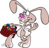 Cartoon of the Easter Bunny Tiptoeing with a Basket of Easter Eggs clipart