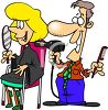 Cartoon of a Male Hairdresser Drying a Woman's Hair clipart
