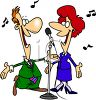 Cartoon of a Singing Duet clipart