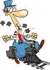 Cartoon of a Miniature Train Engineer clipart