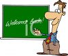 Cartoon of a Teacher Welcoming His Students Back clipart