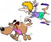 Cartoon of a Dog Walker Being Pulled by a Dog clipart