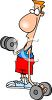 Cartoon of a Skinny Guy Lifting Weights clipart