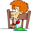 Cartoon of a Boy Refusing to Eat His Peas clipart