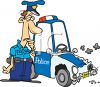 Cartoon of a Policeman Looking at His Wrecked Police Car clipart