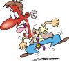 Cartoon of a Red Faced, Angry Man clipart