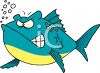 Cartoon of a Mean Looking Fish clipart