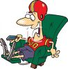 Cartoon of a Football Fan, Sitting in His Recliner clipart