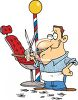 Cartoon of a Barber Holding His Scissors clipart