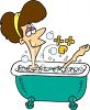 Cartoon of a Woman Soaking in a Tub clipart