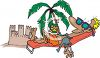 Cartoon of a Man Lounging on the Beach clipart