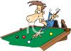 Cartoon of a Man Playing Billiards clipart