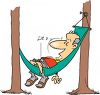 Man Napping in a Hammock Cartoon  clipart