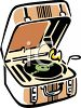 Retro Record Player with a Case clipart