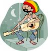 Rasta Singer Playing the Guitar clipart