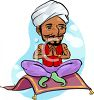Man Wearing  a Turban, Sitting on a Magic Carpet clipart