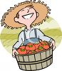 Farmer with a Basket of Tomatoes clipart