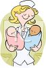 Pediatric Nurse Holding Two Newborns clipart