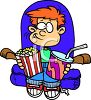 Boy, at the Theater ,Watching a Movie with Snacks clipart