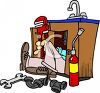 Plumber Repairing a Kitchen Sink clipart