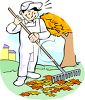 Handyman Raking Leaves Clip Art clipart