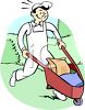 Handyman Pushing a Wheelbarrow Clip Art clipart
