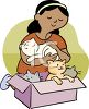 African American Girl with a Box of Kittens clipart