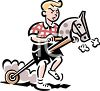 Angry Boy Riding a Hobby Horse clipart