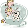 Girl Washing Her Dog clipart