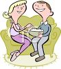 Couple Sharing a Bowl of Popcorn clipart