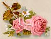Pink Roses and Daisies Victorian Floral Clip Art clipart