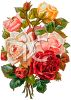 Yellow and Pink Roses Bouquet Victorian Floral Clip Art clipart