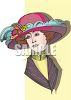 Victorian Lady Wearing a Fancy Hat clipart