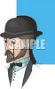Man Wearing a Monocle and a Bowler Hat clipart
