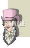 Victorian Gentleman Wearing a Fancy Hat clipart