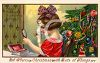 Victorian Child Putting on Her Mother's Makeup-Christmas Card clipart